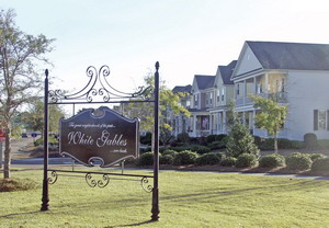 White Gables properties and neighborhood sign inSummerville, South Carolina